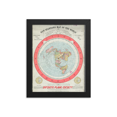 FLAT EARTH MAP FRAMED --Framed poster print