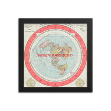 Load image into Gallery viewer, FLAT EARTH MAP FRAMED --Framed poster print