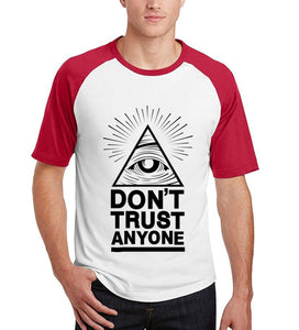 Don't Trust Anyone Illuminati All Seeing Eye t-shirt men casual raglan short sleeve #illuminai