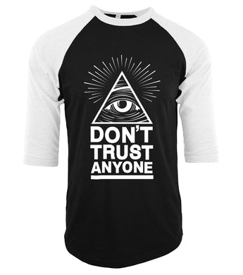 Don't Trust Anyone Illuminati All Seeing Eye raglan tee shirt homme#illuminai
