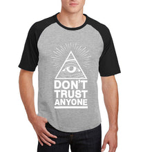 Load image into Gallery viewer, Don't Trust Anyone Illuminati All Seeing Eye t-shirt men casual raglan short sleeve #illuminai