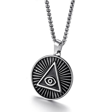 All Seeing Eye of Providence Pendant Necklace ,  Stainless Steel Vintage   24