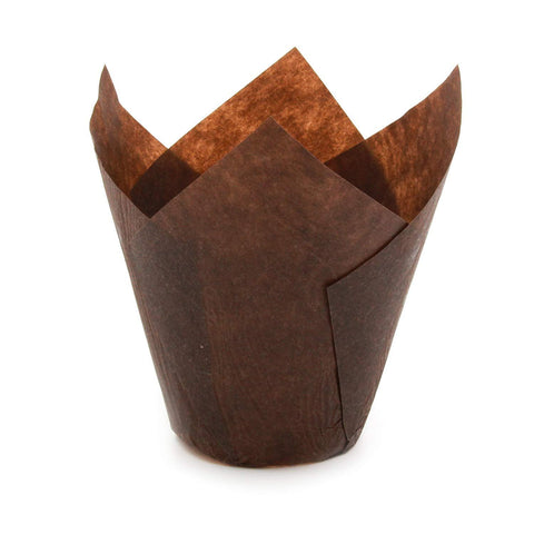 (WHOLESALE) Brown Tulip Baking Cups 132 x 50 - 2000 count (SHORT size)