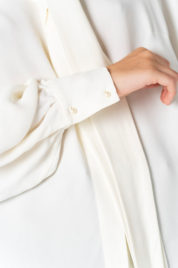 White Blouse with Bowtie