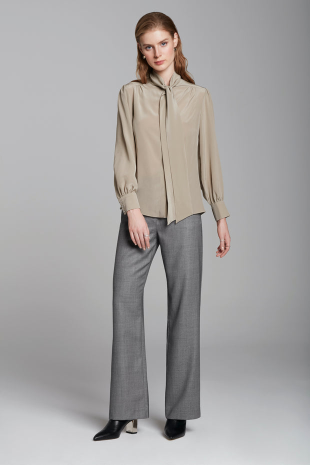 Bow-tie Blouse In Sand Crepe De Chine