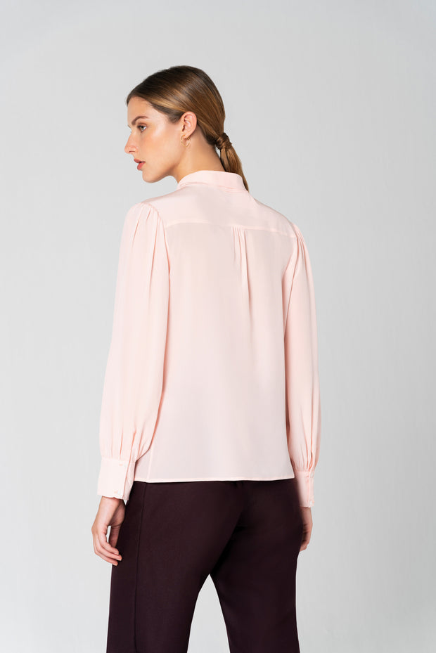 Bow-tie Blouse In Pink Crepe De Chine