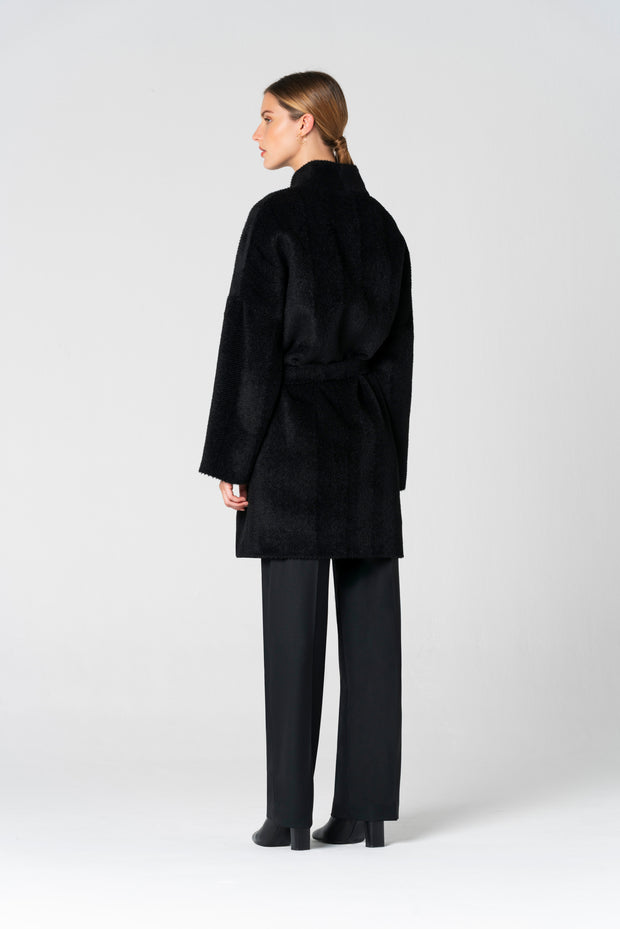 Alpaca Wool Black Coat