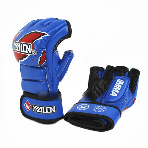 Blue-PU-MMA-Grappling-Gloves