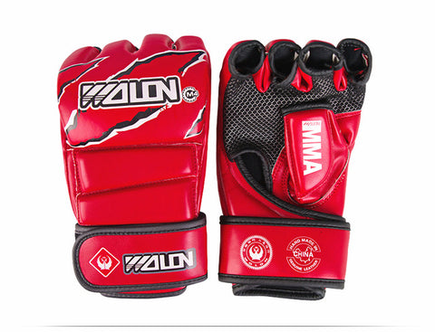 Red-PU-MMA-Grappling-Gloves