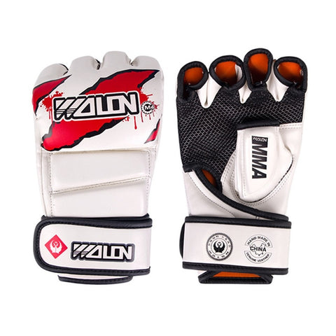 White-PU-MMA-Grappling-Gloves