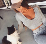 woman-wears-gray-sexy-Long-Sleeve-Track-Suit-with-her-cat