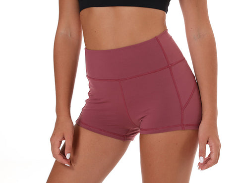 Women-wear-workout-shorts-red-front