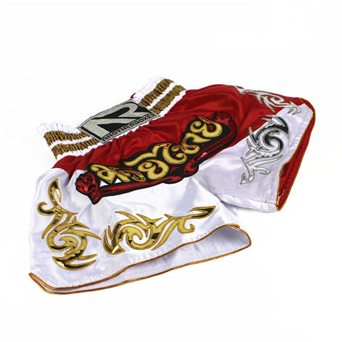 women-muay-thai-short-red-white-gold