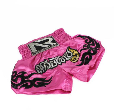 women-muay-thai-short-pink-black