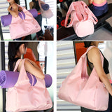 Pink-waterproof-gym-bag-with-yoga-mat