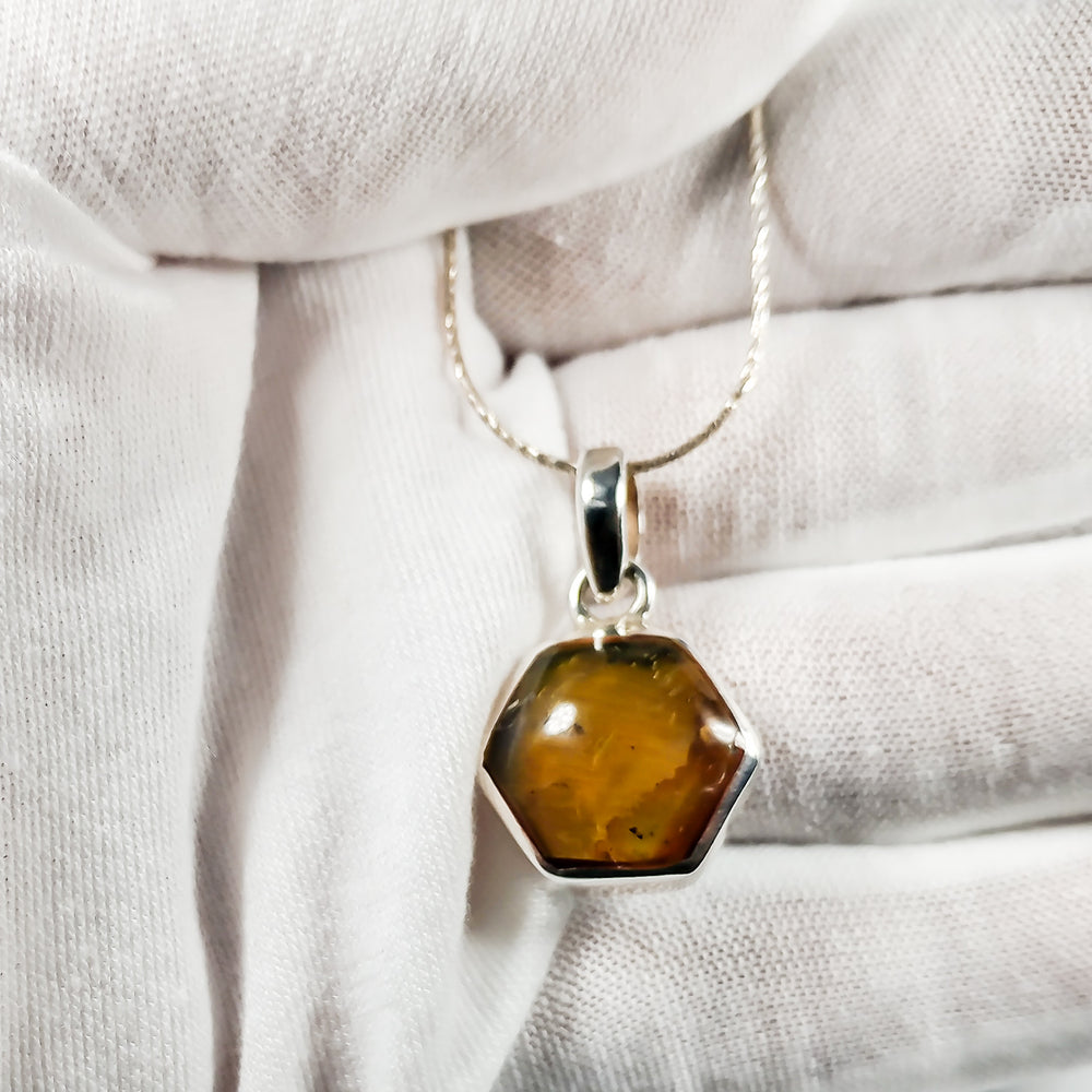 Reversible Amber and Larimar Pendant, Emily