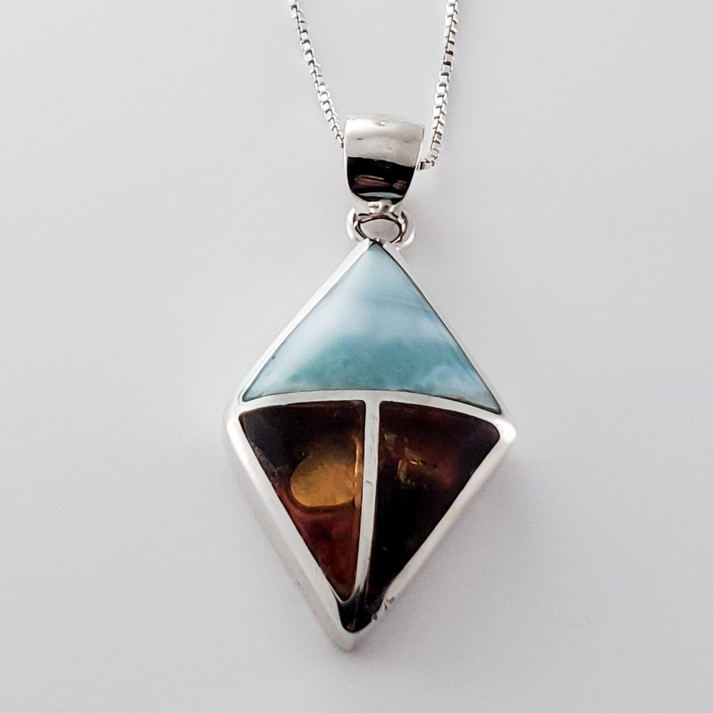 Rhombus Amber and Larimar Pendant, Grace