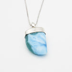 Shark Tooth Larimar Pendant, June