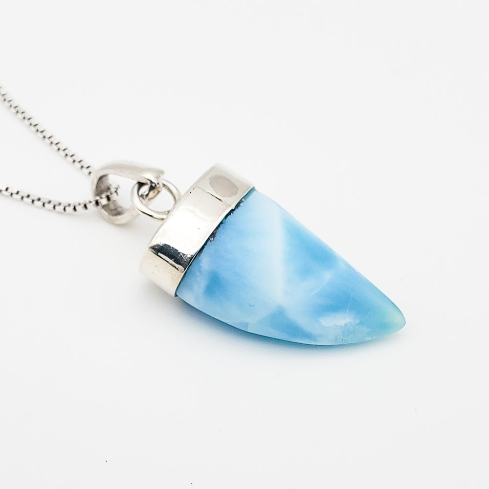 Shark Tooth Larimar Pendant, Aiden