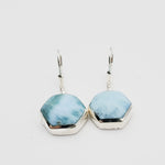 Hexagon Larimar Earrings, Serenity