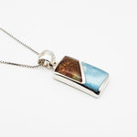 Rectangular Amber and Larimar Pendant, Norah