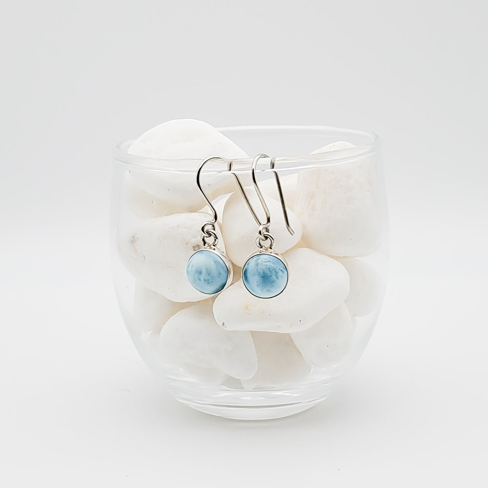 Round Larimar Earrings, Rosalie