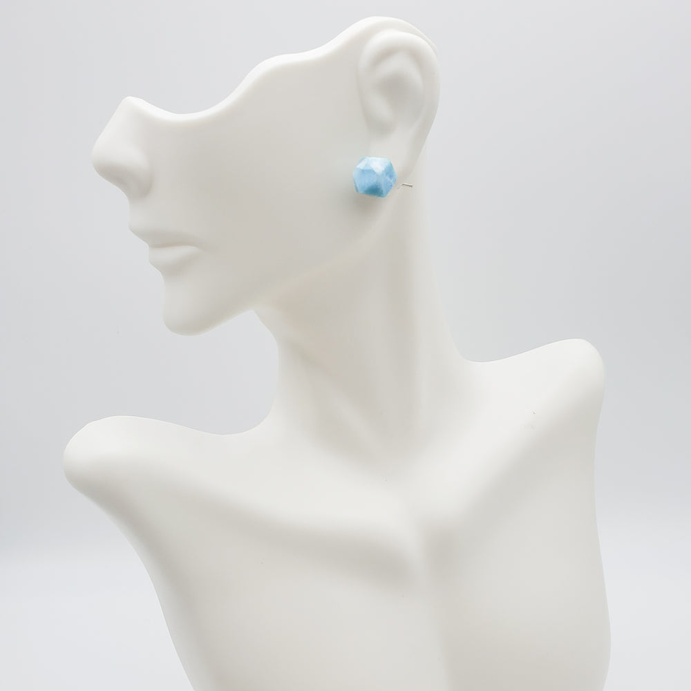 Faceted Larimar Studs, Angelina