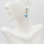 Triangle and Round Larimar Earrings, Allison