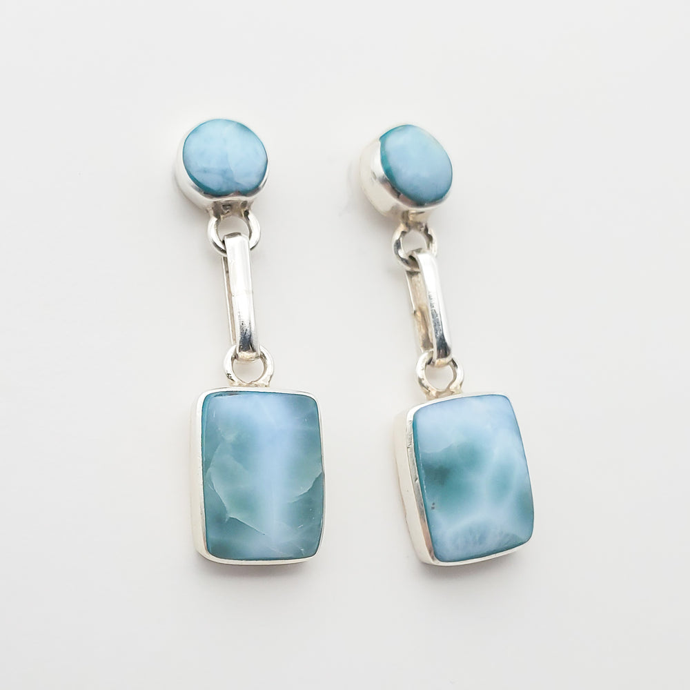 Square and Round Larimar Earrings, Whitney