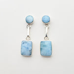 Square and Round Larimar Earrings, Whitney II