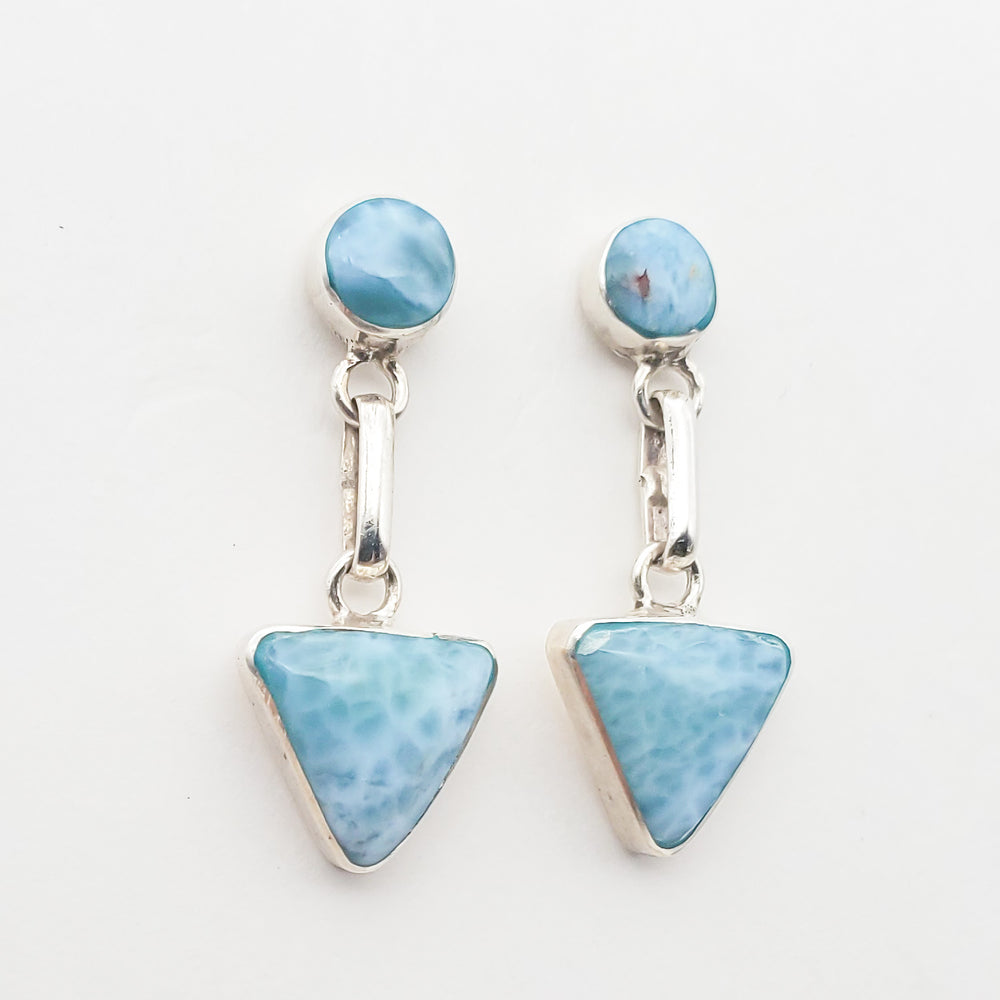 Triangle and Round Larimar Earrings, Allison II