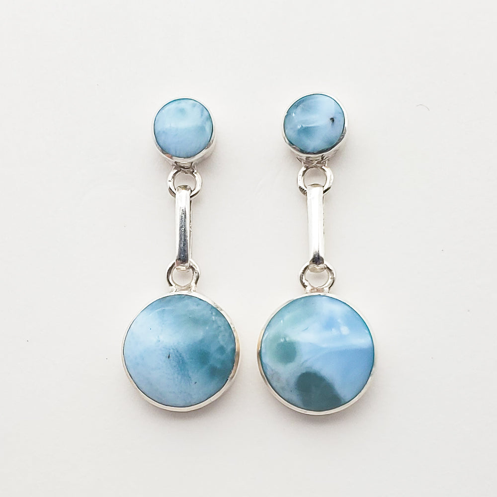 Round Larimar Earrings, Emerald