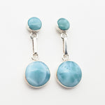 Round Larimar Earrings, Emerald II