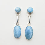 Oval and Round Larimar Earrings, Pamela