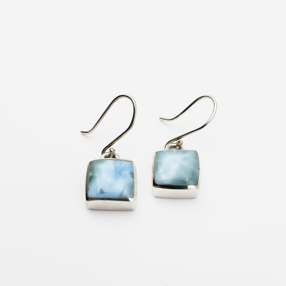 Square Larimar Earrings, Yvonne III