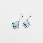 Diamond- Shaped Larimar Earrings, Genevieve II