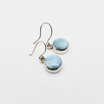 Round Dangle Larimar Earrings, Avery