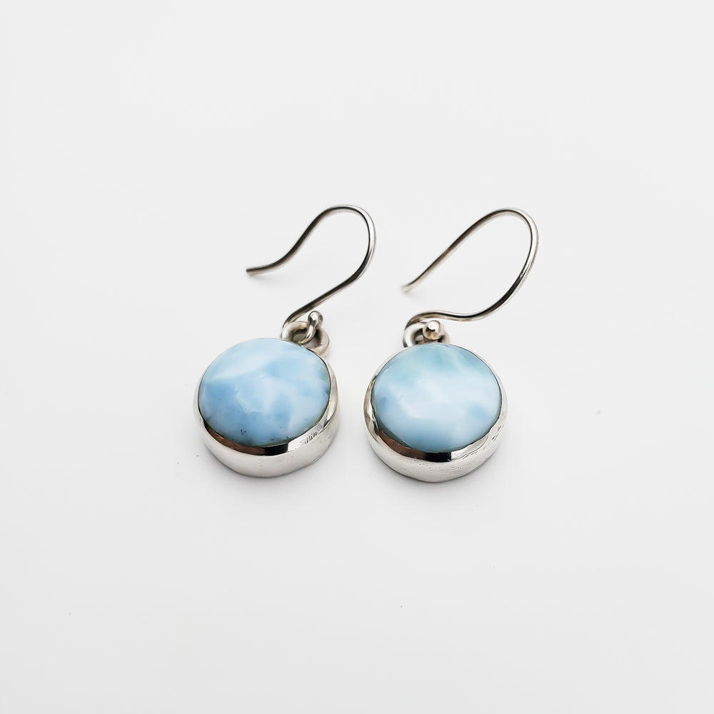 Round Dangle Larimar Earrings, Avery I