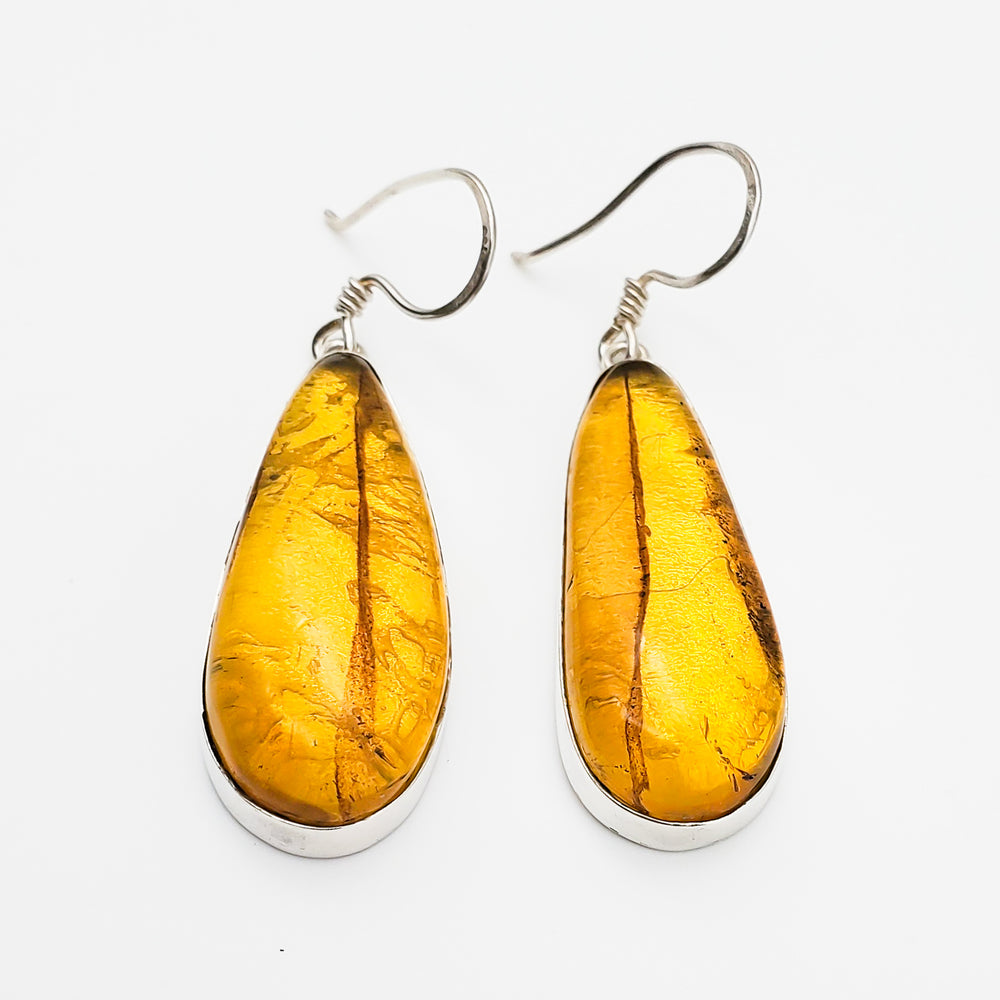 Long Teardrop Amber Earrings, Eilleen