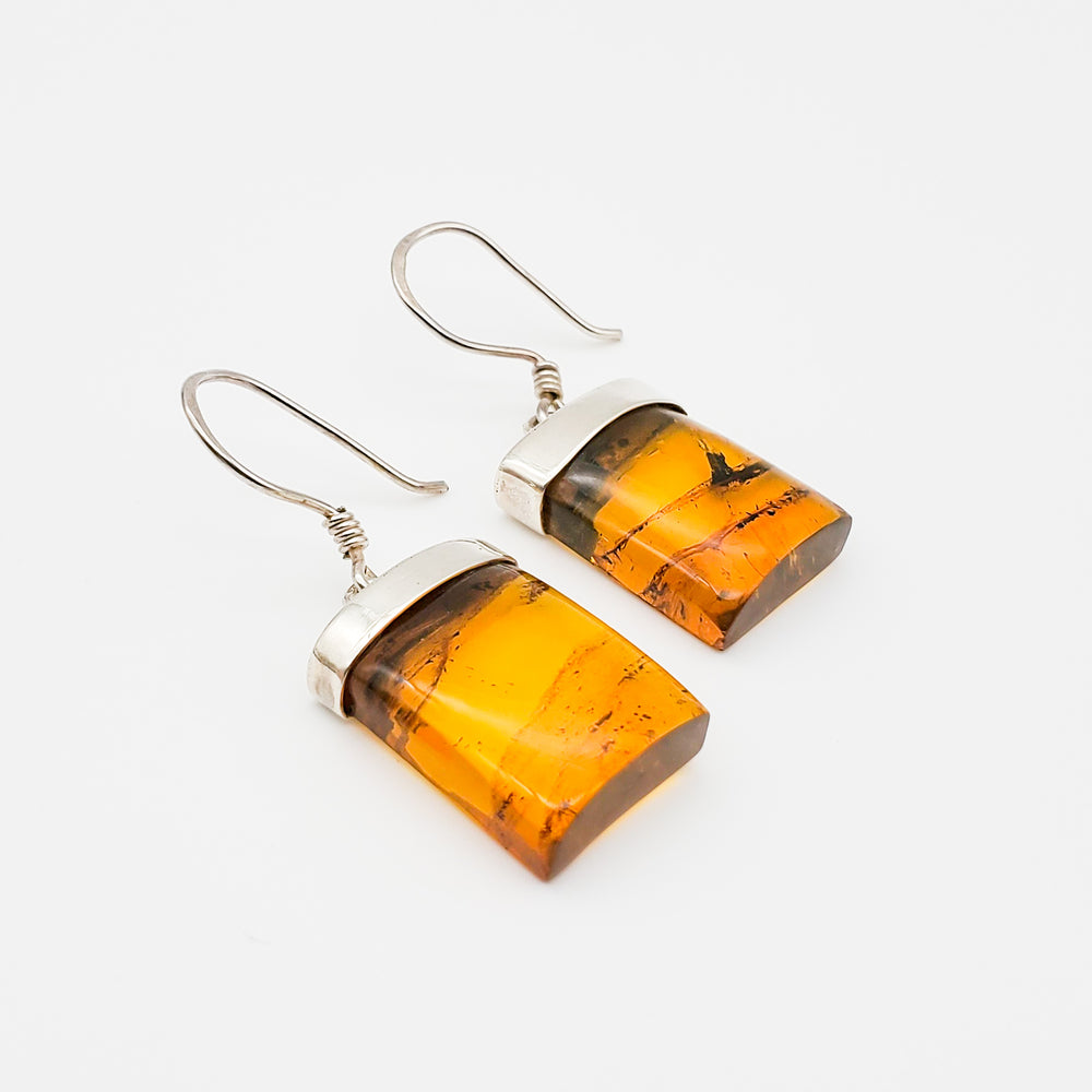 Square Amber Earrings, Justine