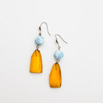 Dangle Amber and Larimar Earrings, Lucinda