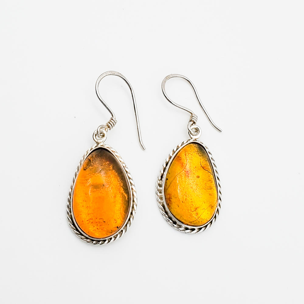 Teardrop Amber Earrings, Virginia
