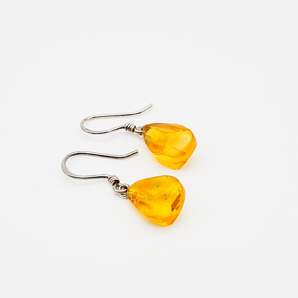 Faceted Amber Earrings, Phoebe
