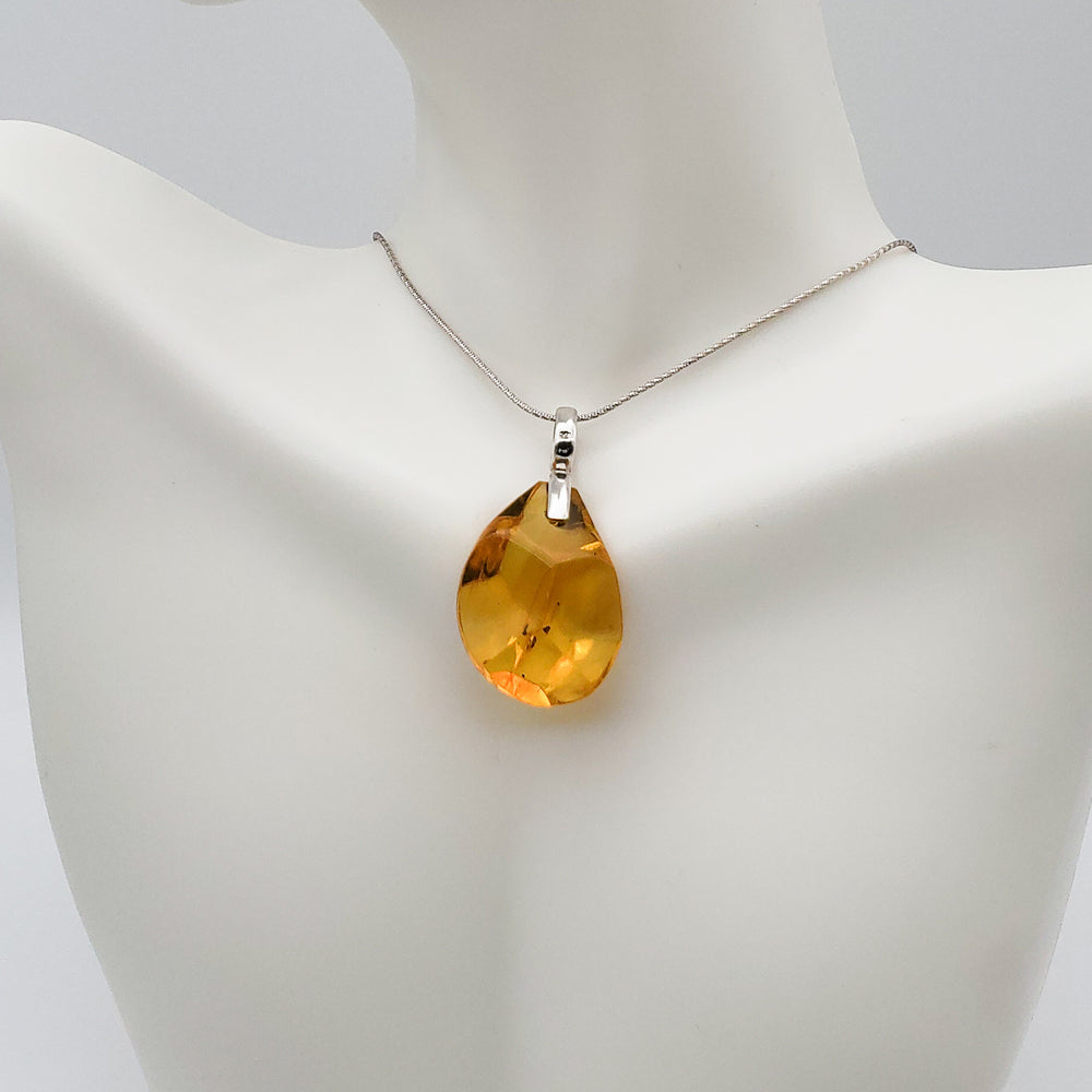 Faceted Amber Pendant, Adela