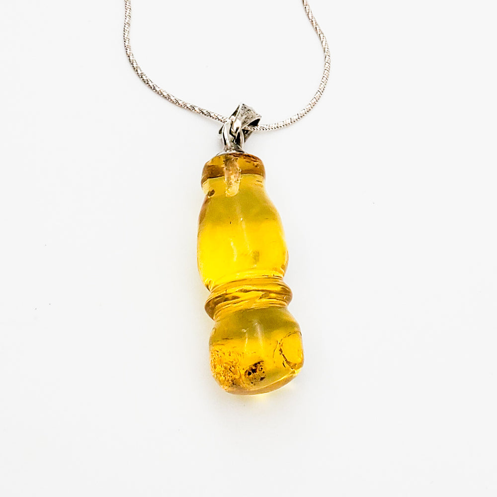 Cheese Piece Amber Pendant, Robin