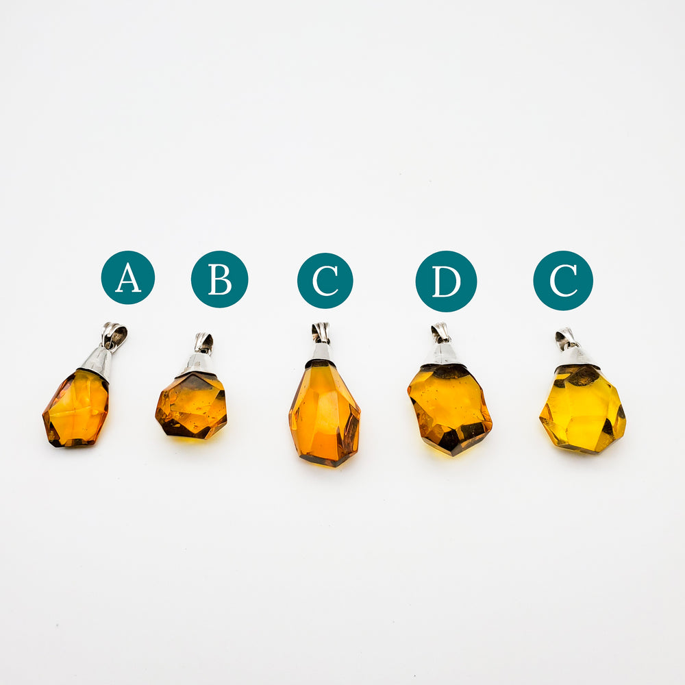 Faceted Amber Pendant, Olga