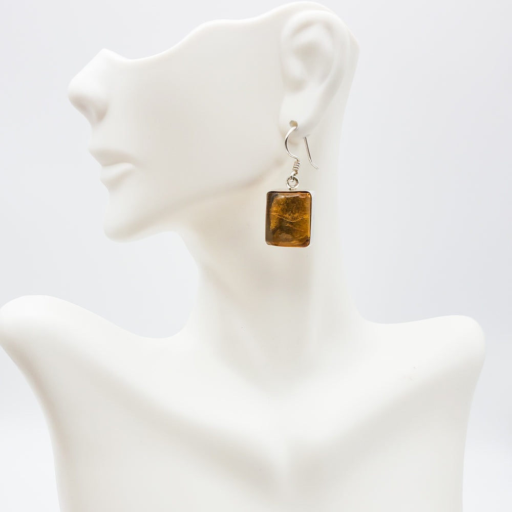 Square Amber Earrings, Isadora