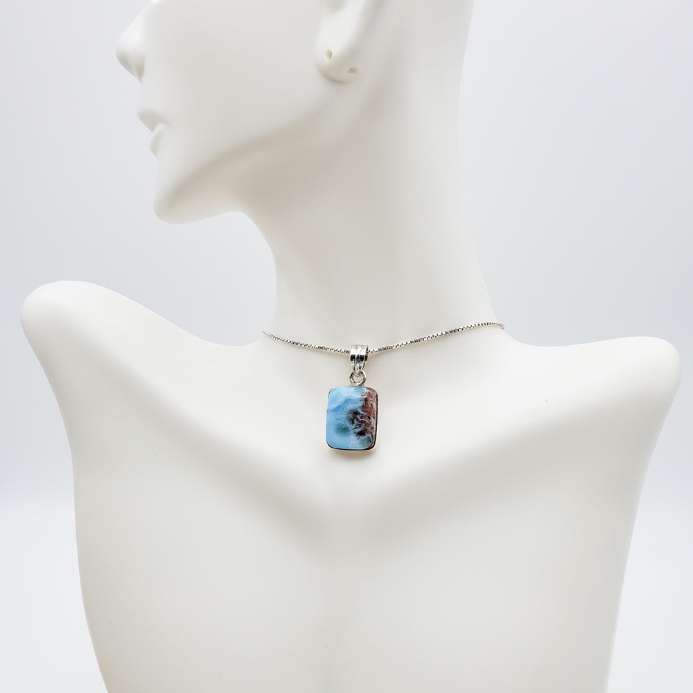 Square Larimar Pendant with Red Specks, Coralie