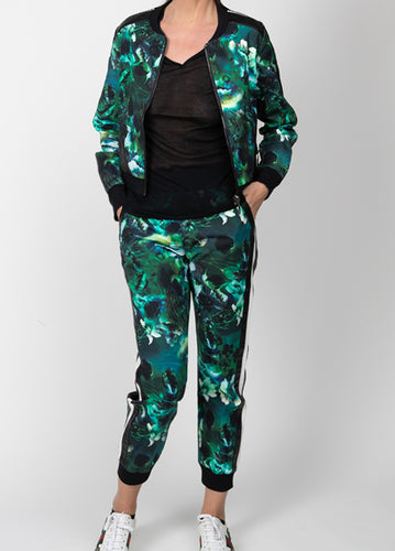 Emerald Printed Pants with side stripes