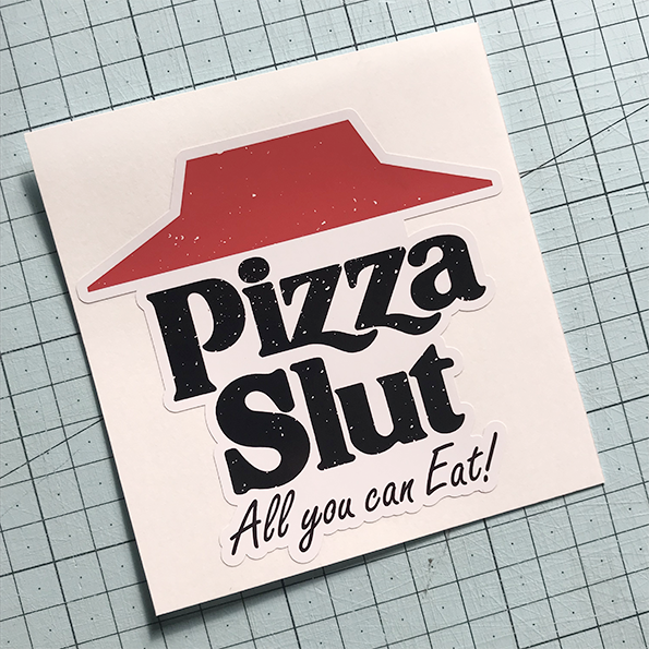 Pizza Slut Retro Sticker